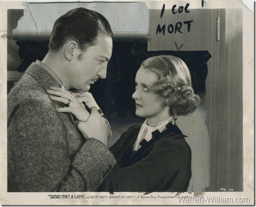Warren William and Bette Davis in Satan Met a Lady