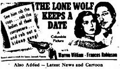 The Lone Wolf Keeps a Date Newspaper Ad