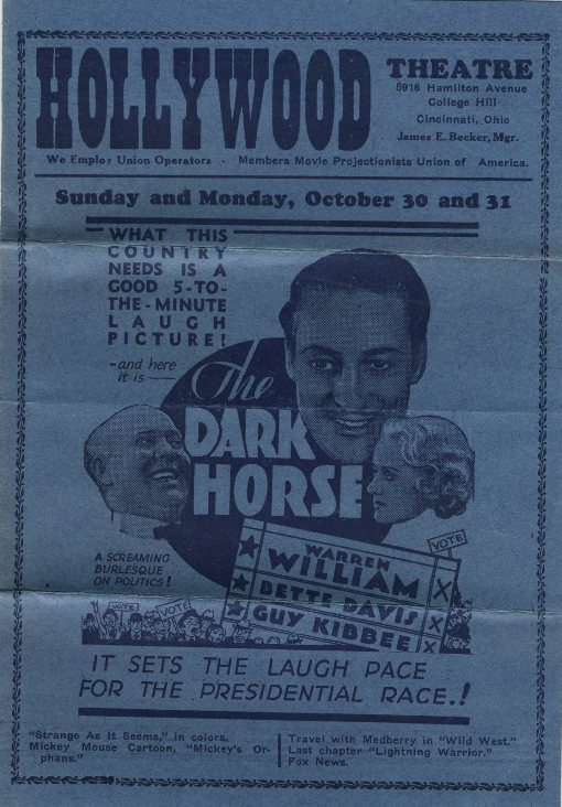 1932 Theater Program featuring The Dark Horse