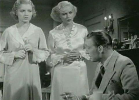 Peggy Shannon Patricia Ellis and Warren William in The Case of the Lucky Legs